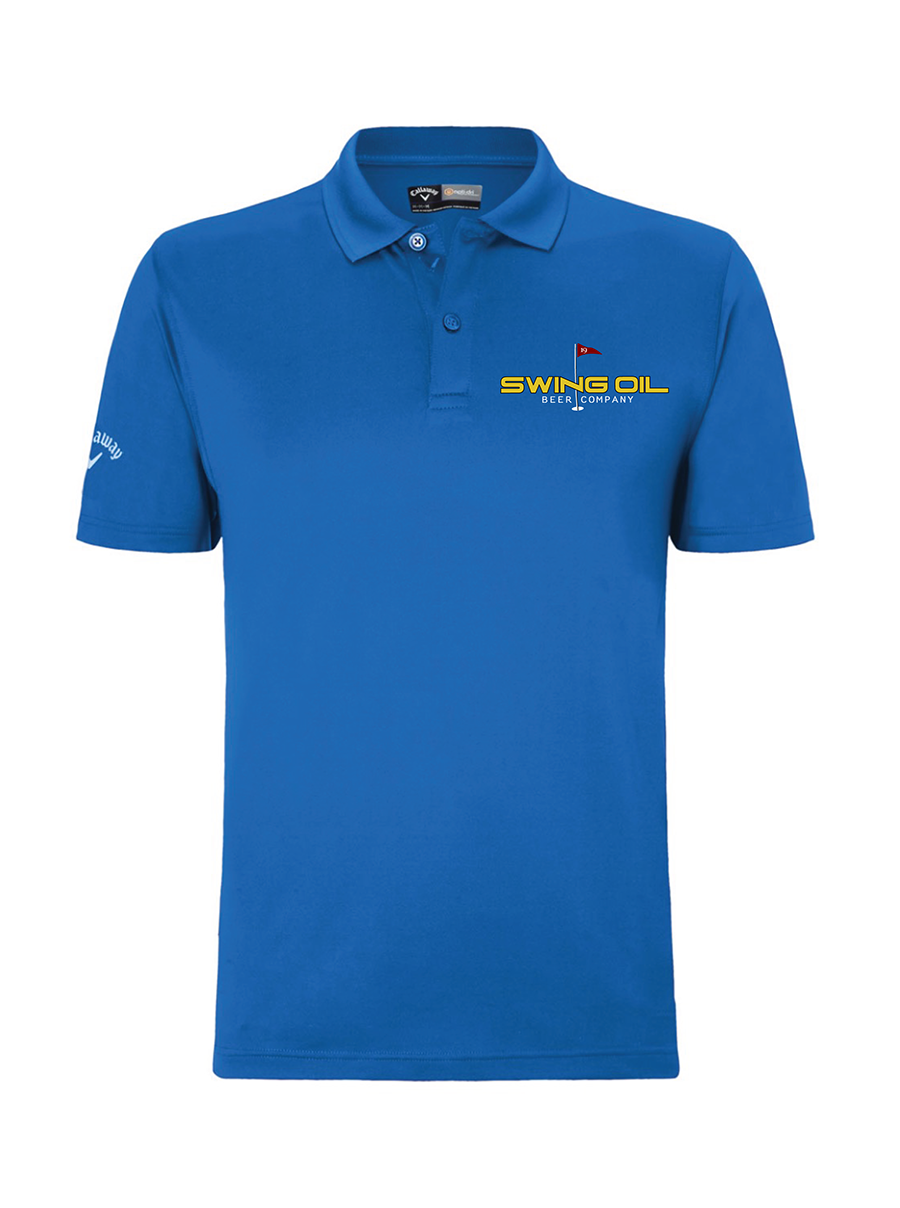 Swing Oil Beer Company golf polo in Magnetic Blue