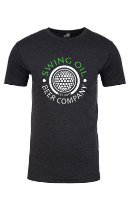 Swing Oil Beer Company golf ball logo T-Shirt in Charcoal