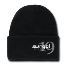Cuffed Knit Beanie Cap with Swing Oil Beer Company logo