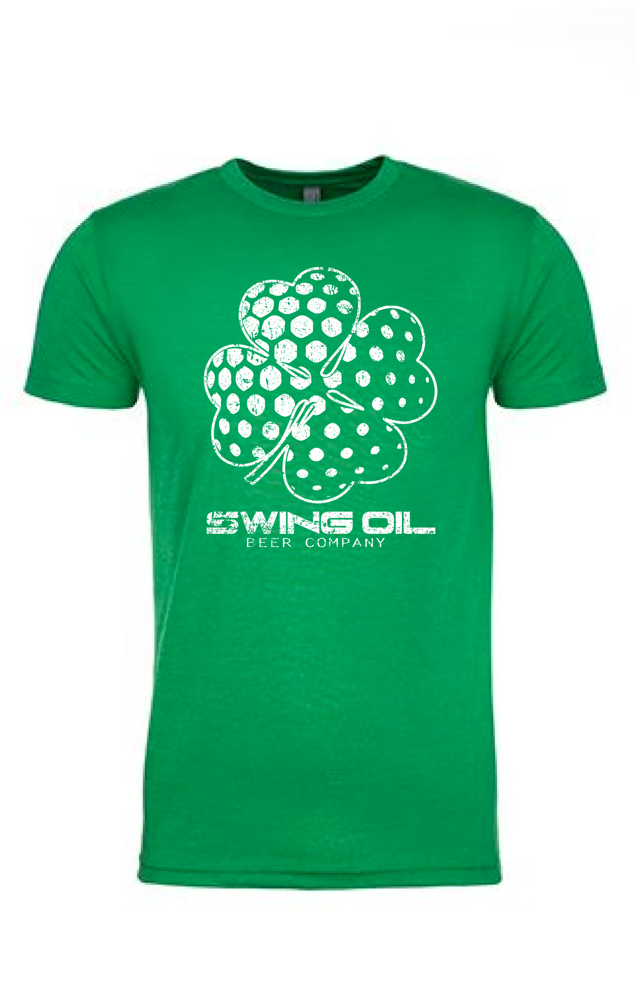 """Swing Oil Beer Company distressed """"Shamrock"""" golf ball T-Shirt in Kelly Green"""