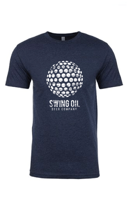 Swing Oil Beer Company with distressed golf ball T-Shirt in Dark Blue