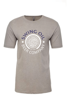 Swing Oil Beer Company golf ball logo T-Shirt in Medium Grey