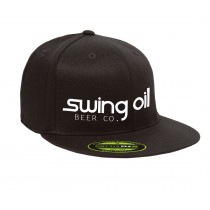 Black Flatbill hat with Swing Oil Beer Company logo across